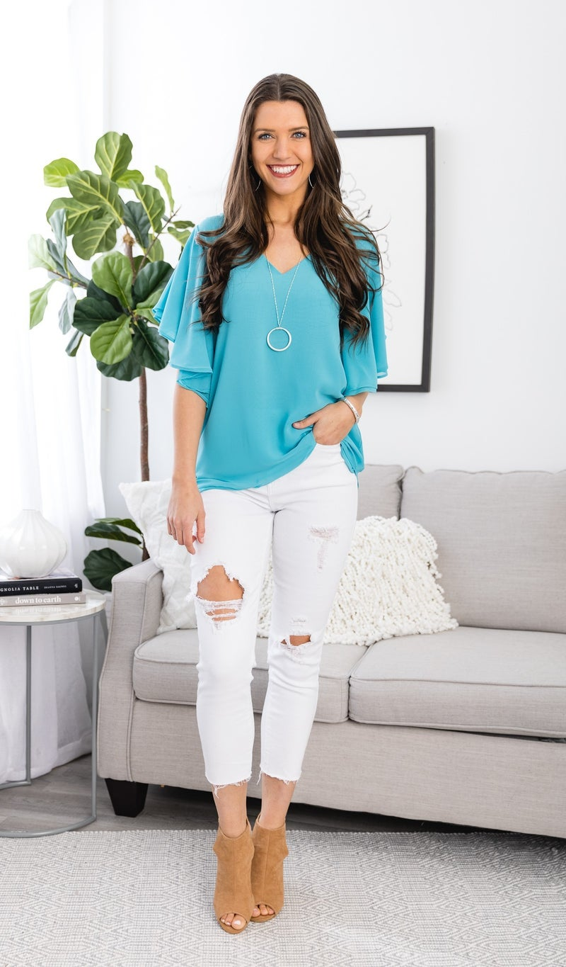 In Bloom Top, Turquoise