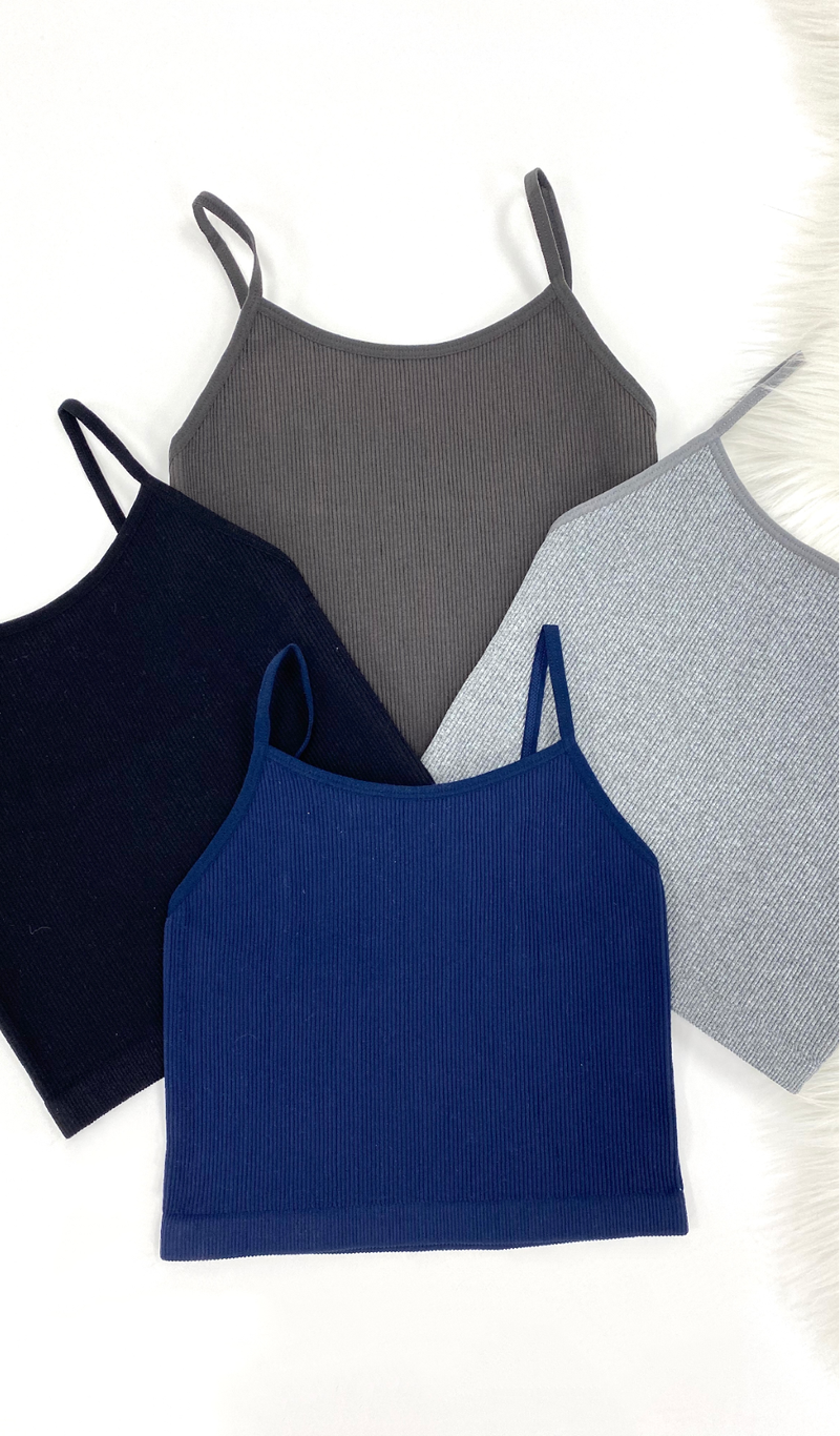 The Becca Tank, Charcoal, Grey, Black, Navy, or White