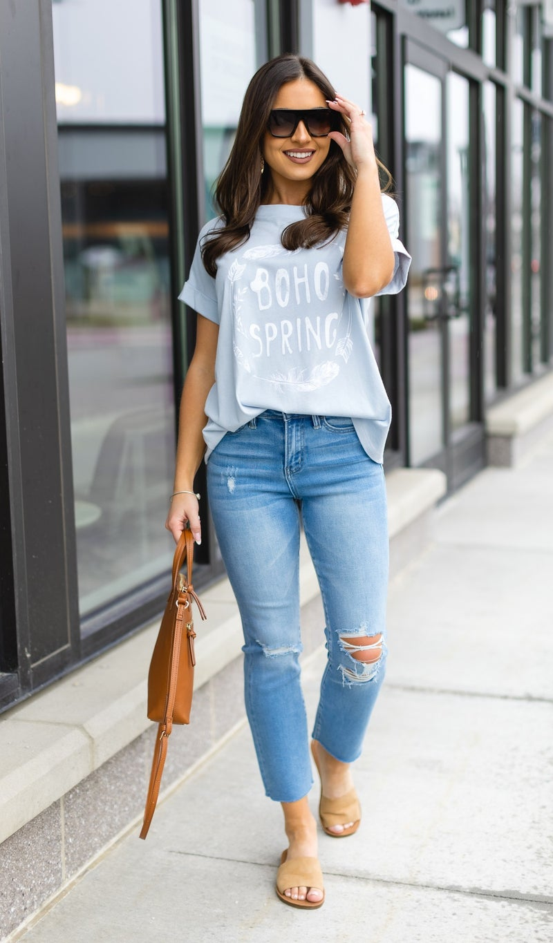 Boho Love Graphic Tee, Sky Blue