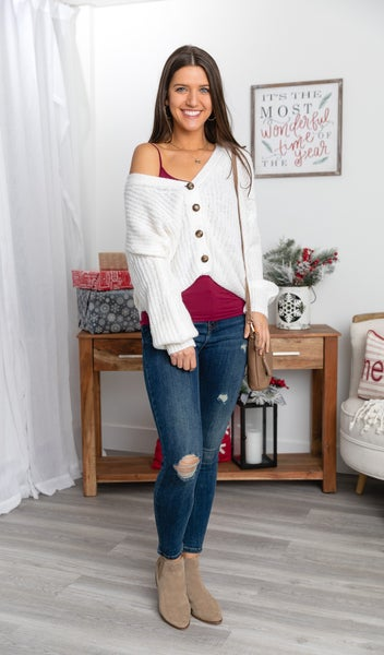 The Callie Cardigan, Violet or Cream