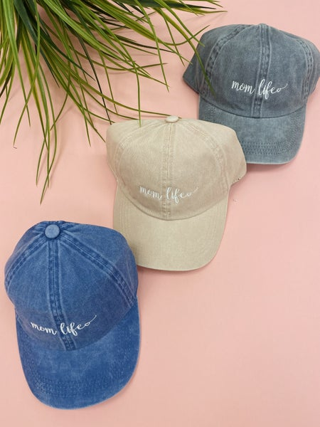 Mom Life Hat, Blue, Pink, Or Grey