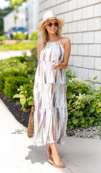 Nina Halter Maxi Dress, Mix Print