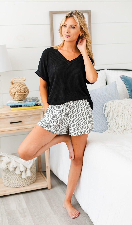 Feelin' Good Shorts, Black & Cream Stripe