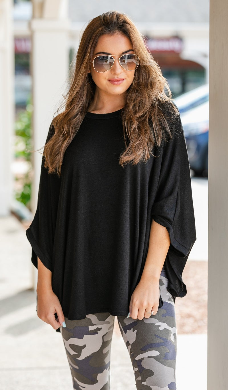 On The Road Sweater/Poncho, Black