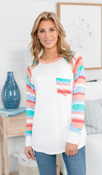 Simple In Stripes Top, Ivory