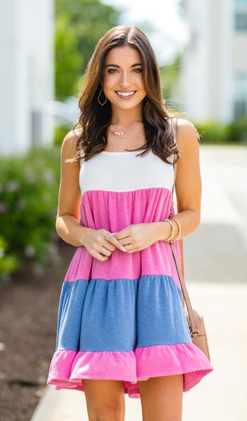 The Macey Dress, Pink & Blue