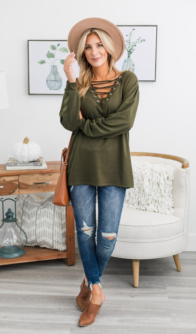 The Hallie Top, Olive, Ivory and Berry