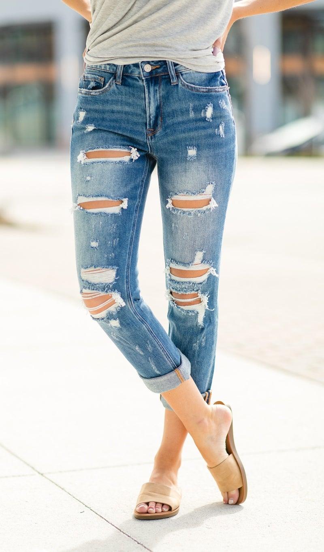 Distressed Stretch Jean, Medium Wash