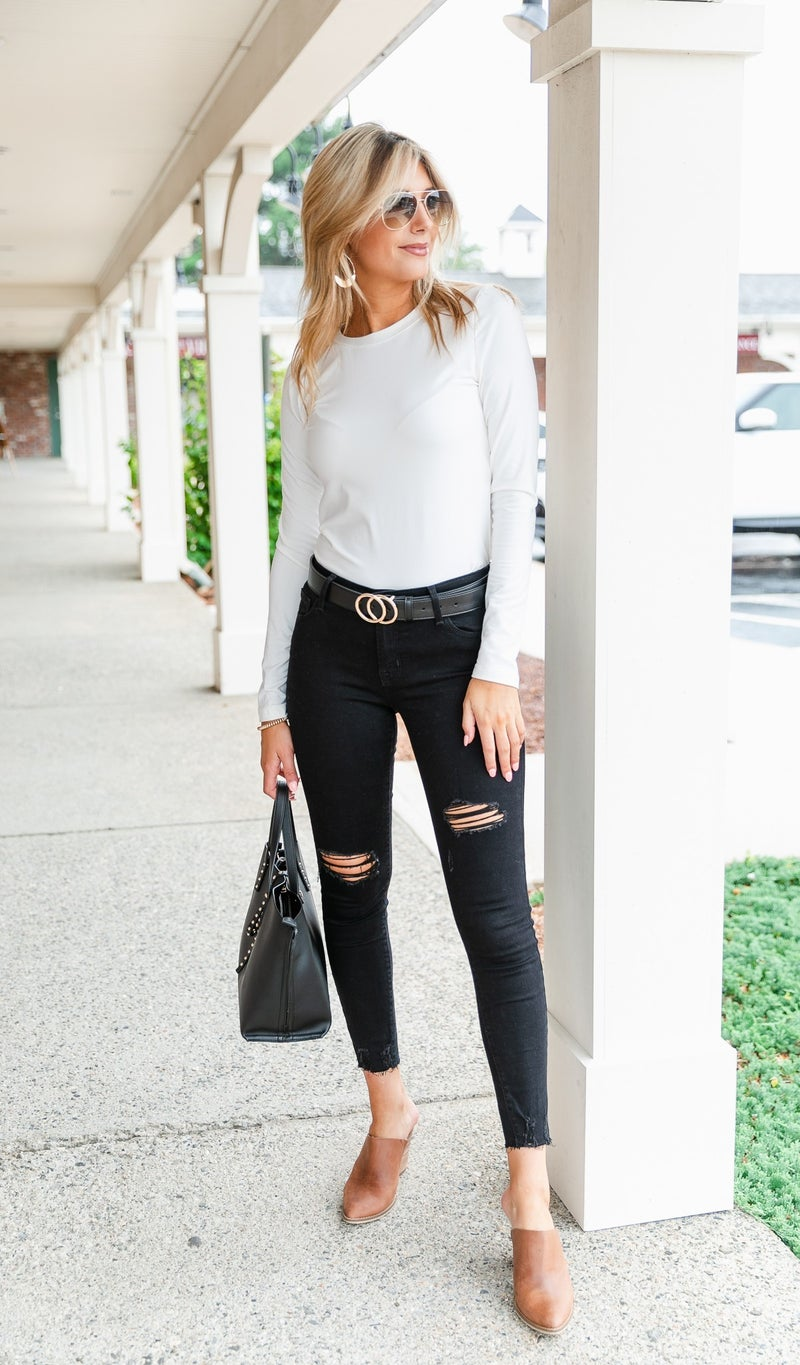 Brushed Layered Long Sleeve Top, Black or Ivory