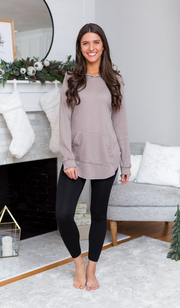 The Cora Hoodie Top, Taupe