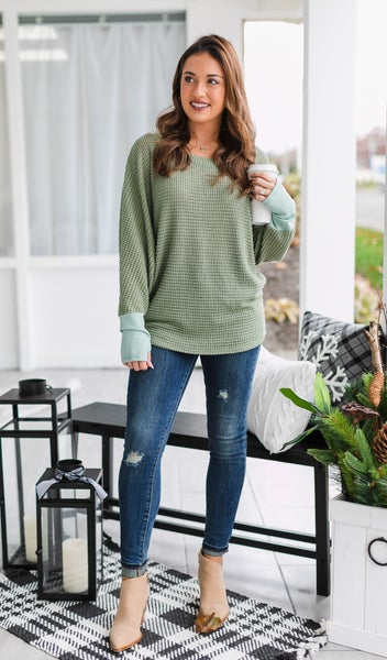 Our Favorite Waffle Top, Sage or Oatmeal *Final Sale*