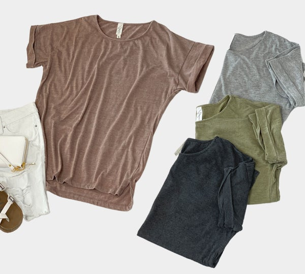 The Evie Top-Mocha, Black, Grey, or Olive