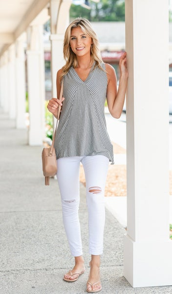 New Days Striped Tank, Grey
