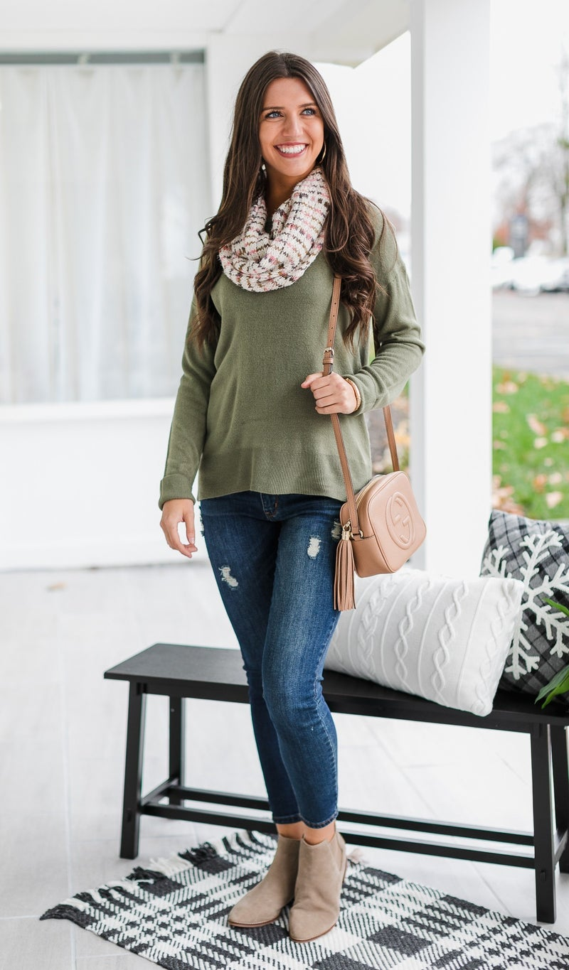 Day by Day Sweater, Red or Olive