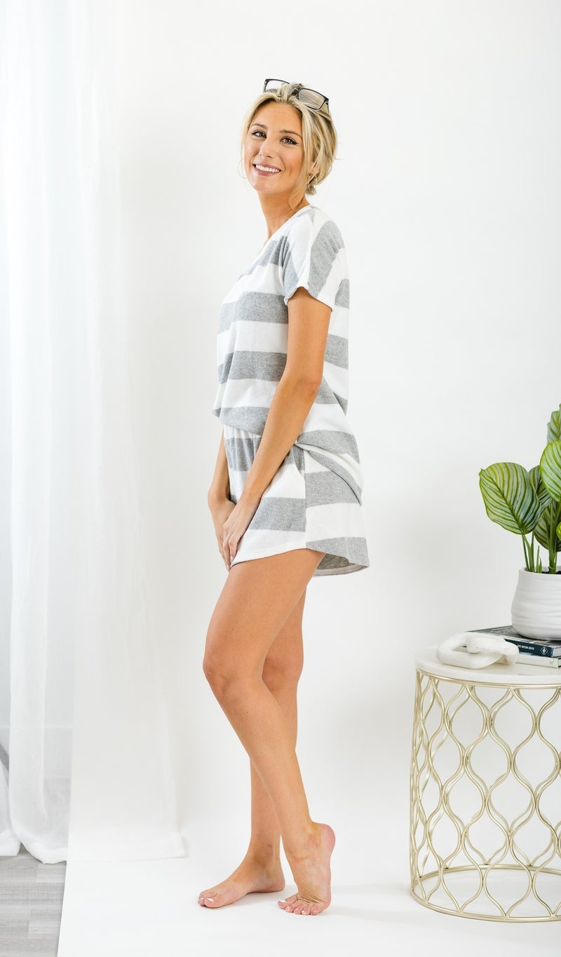 Cute and Comfy Lounge Top, Grey Stripe