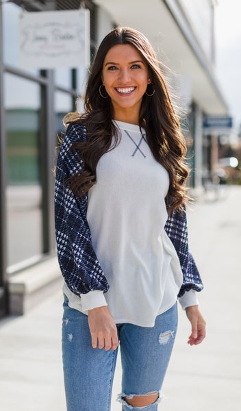 Young & Free Plaid Top, White