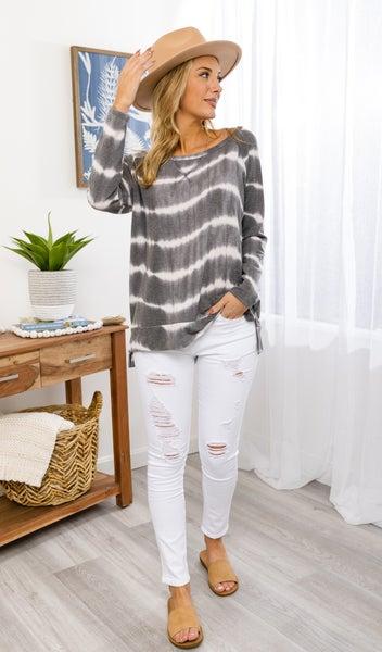 The Heather Top, Grey Tie Dye