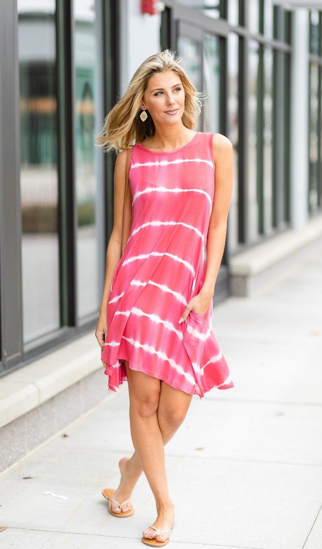 The Morgan Tie Dye Dress, Fuchsia