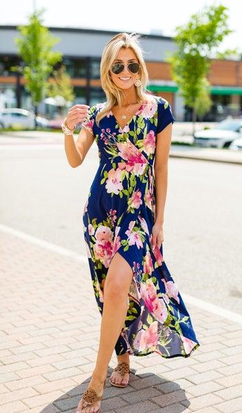 The Valentina Floral Maxi, Navy