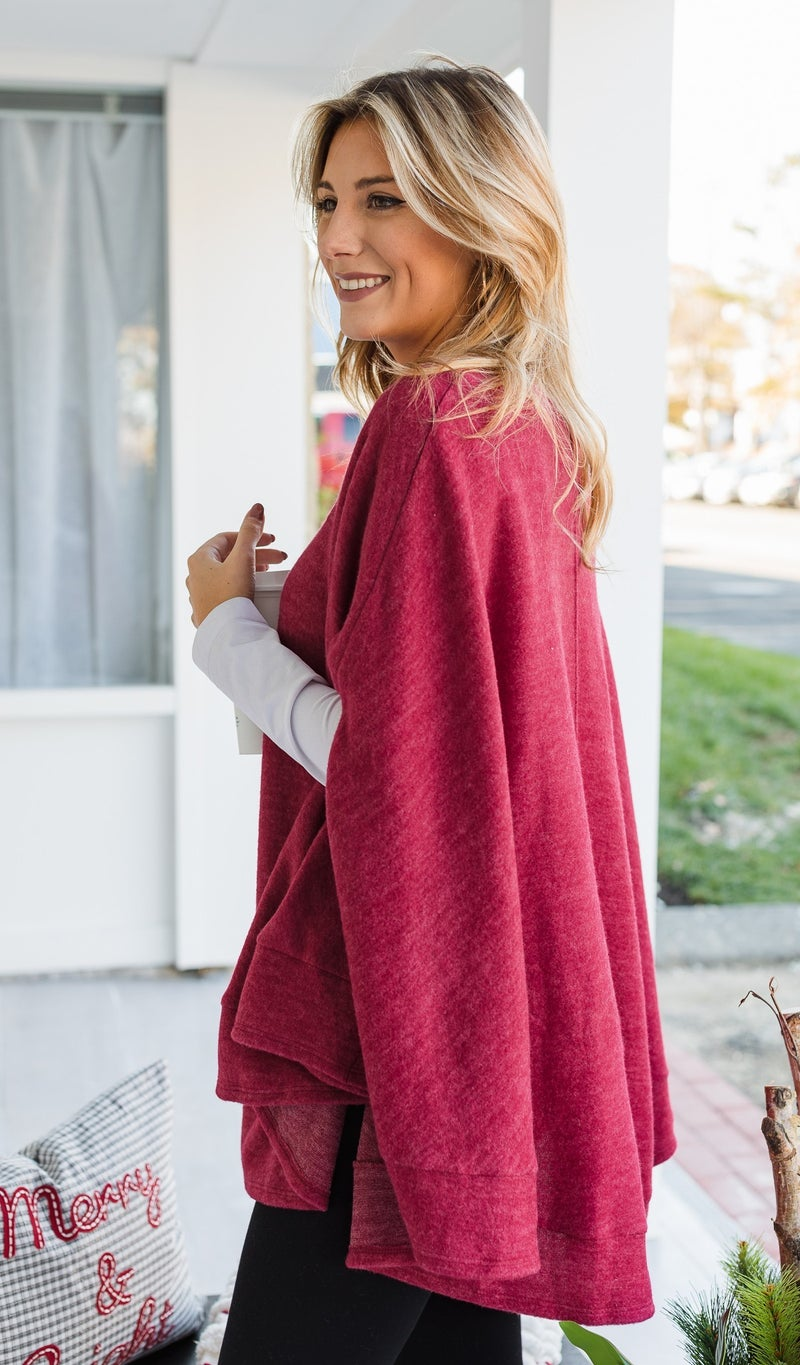 Manhattan Nights Sweater/Poncho, JB Red