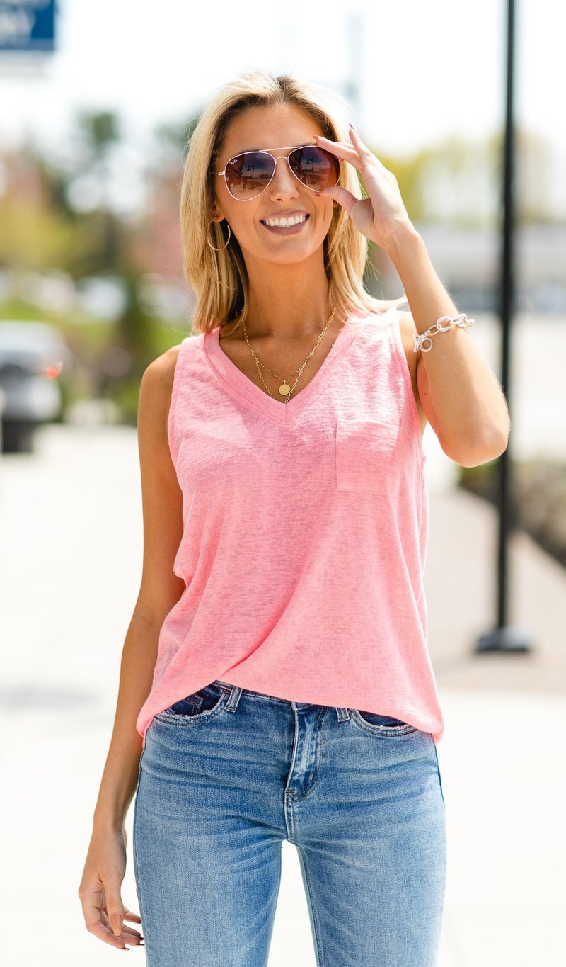 Feel The Light Tank, Pink and White