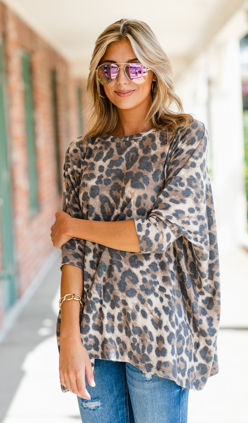 Now Or Never Top/Tunic, Neutral Print