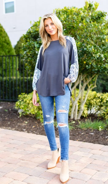 Cheers To Us Top, Grey *Final Sale*
