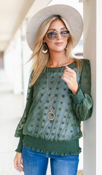 In A Romance Blouse, Blue or Green