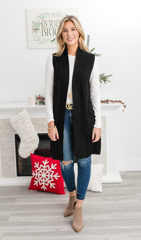 Adventure Seeker Sweater Vest, Black