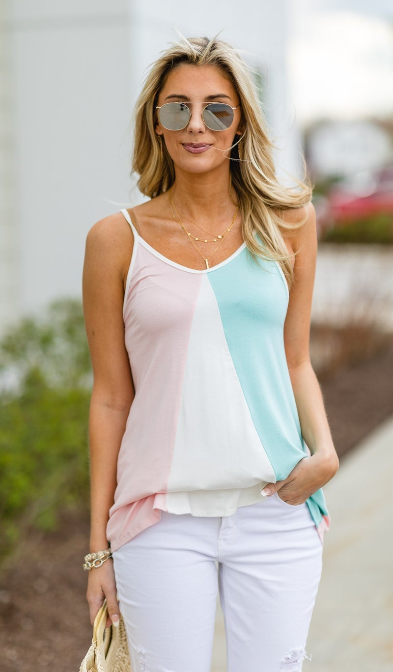 The Callie Tank, Pink Multi