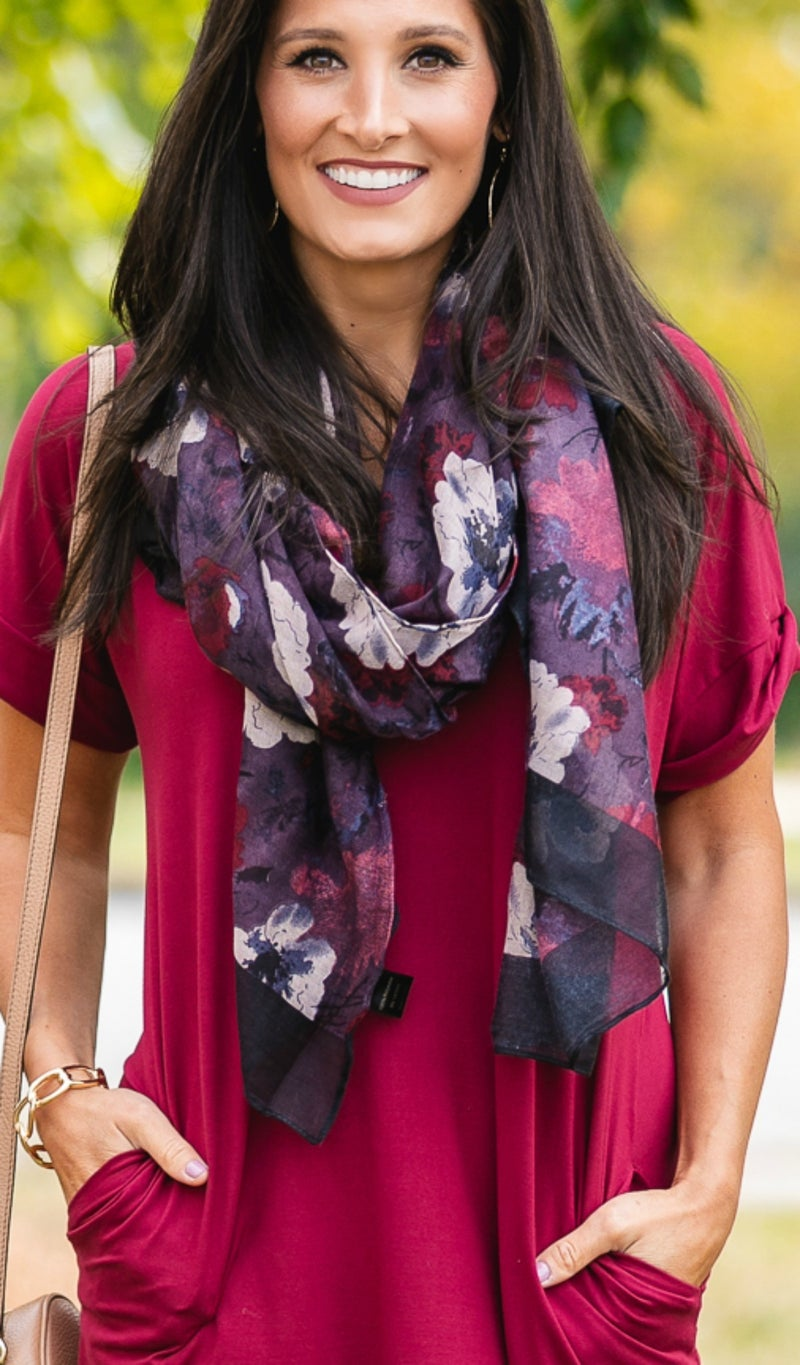Floral Touch Scarf,  Black