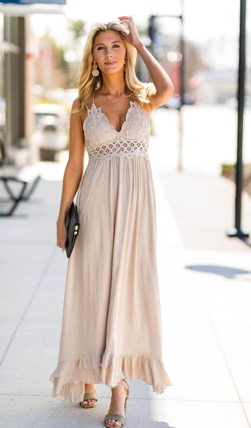 Having A Moment Dress, Taupe