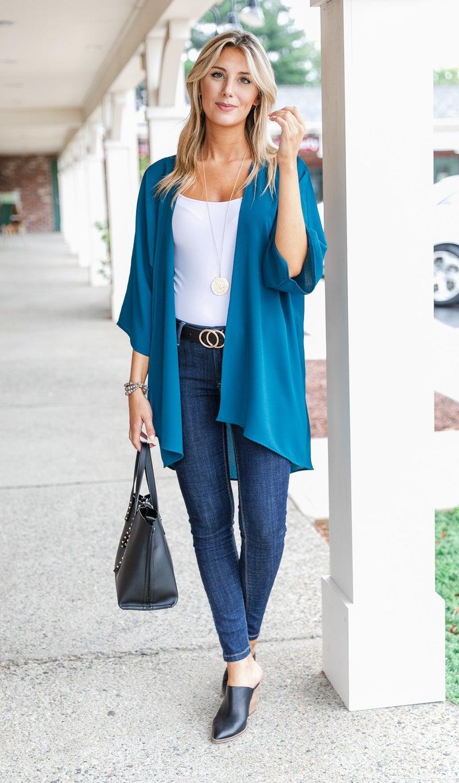 Kenzi Solid Kimono, Burgundy or Teal