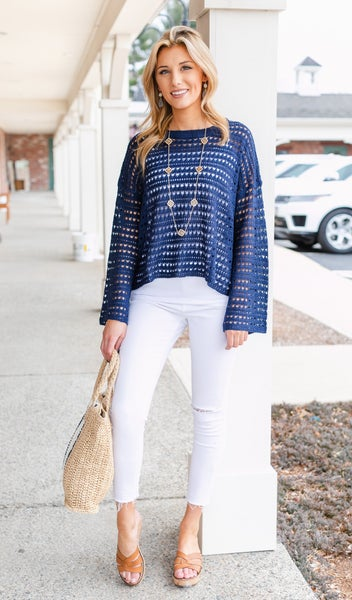 By The Water Sweater, Navy
