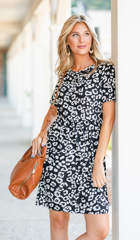 At First Glance Dress, Black Print