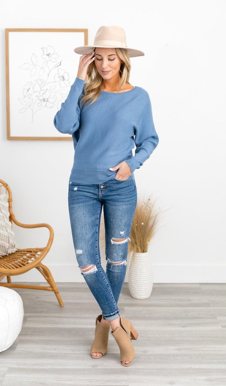 The Delia Sweater,  Denim