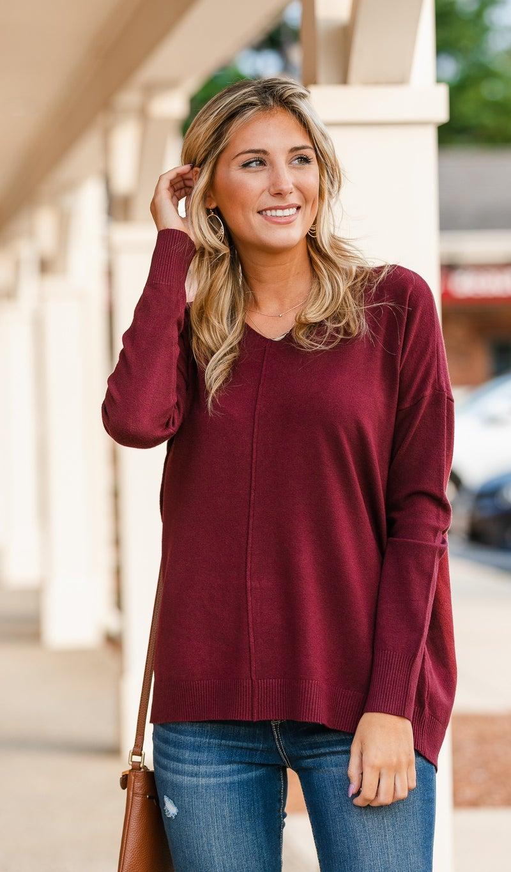 Sunday Morning Sweater, Burgundy, Olive or Black