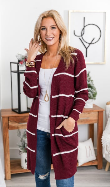 Can't Stop Me Cardigan, Burgundy Stripe