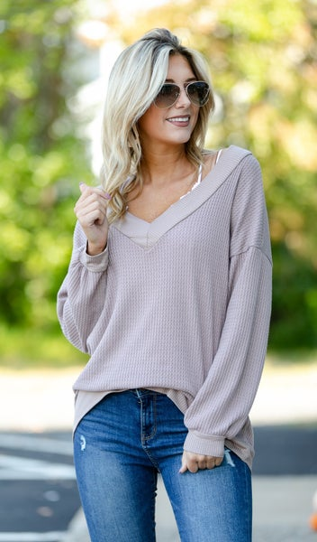 Fall Transition Top, Taupe