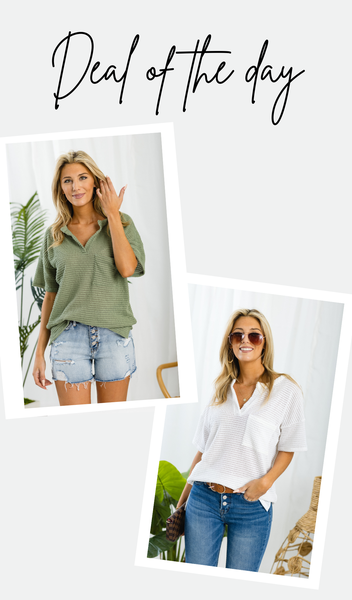 The Ashley Waffle Tee, Ivory or Olive