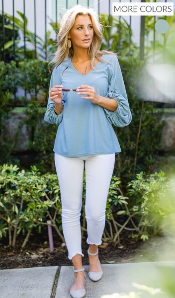The Rylee Blouse, Sage & Blue