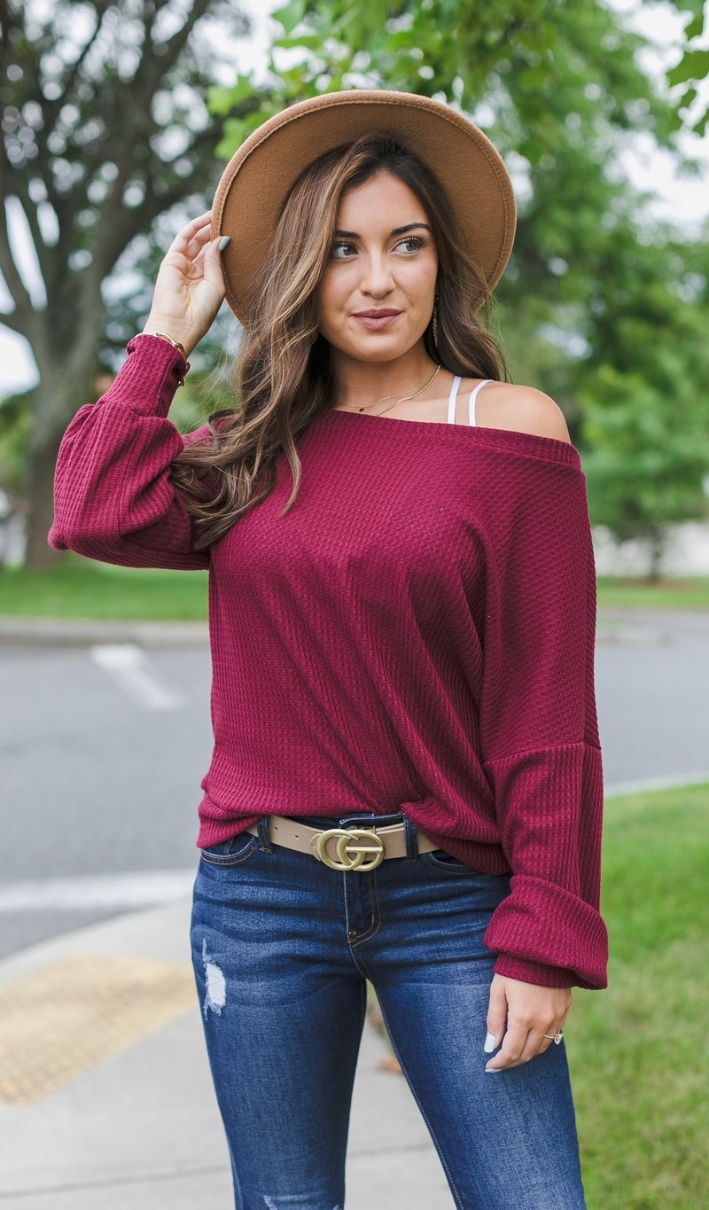 A Solid Waffle Top, Burgundy Taupe, Hunter Green