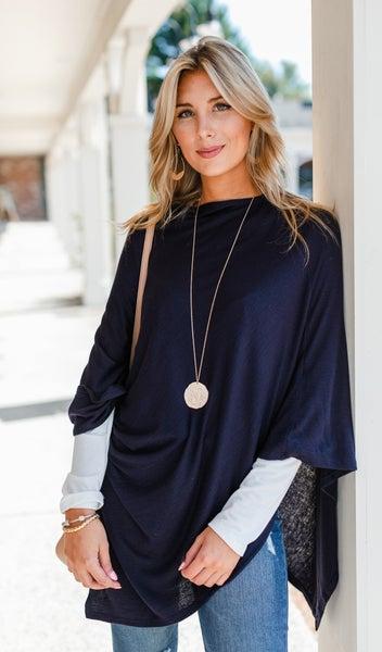 The Stila Poncho/ Sweater, Navy or Chestnut