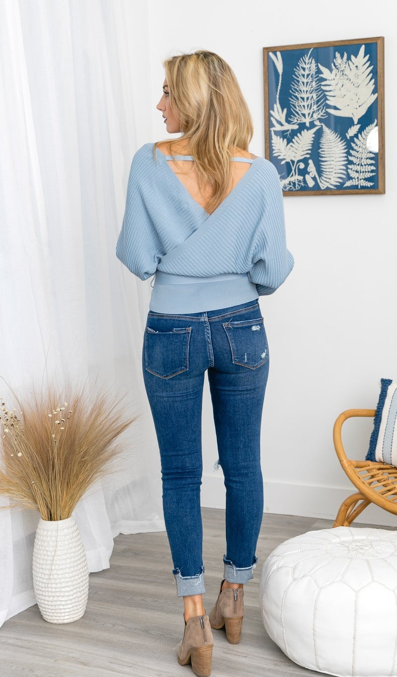 NYC Wrap Sweater, Sky Blue