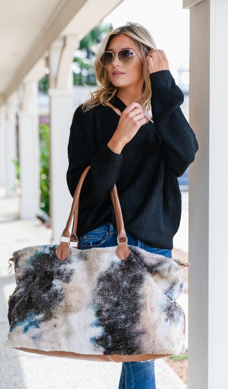 Tie Dye Sherpa Weekender Bag, Black