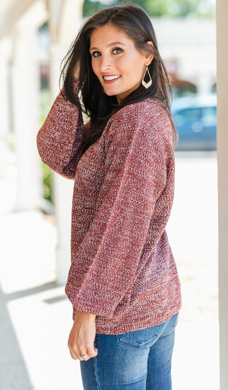 For You Knit Sweater Top, Grey, Olive, or Burgundy