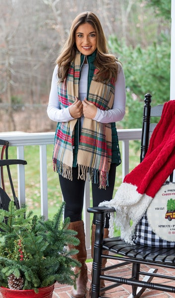 Always Around Plaid Scarves, White, Green or Taupe