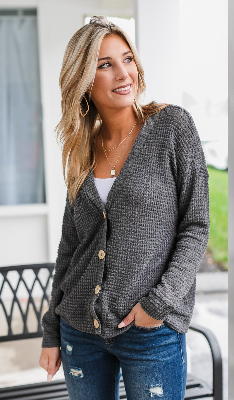 The Sloan Cardigan, Charcoal and Taupe