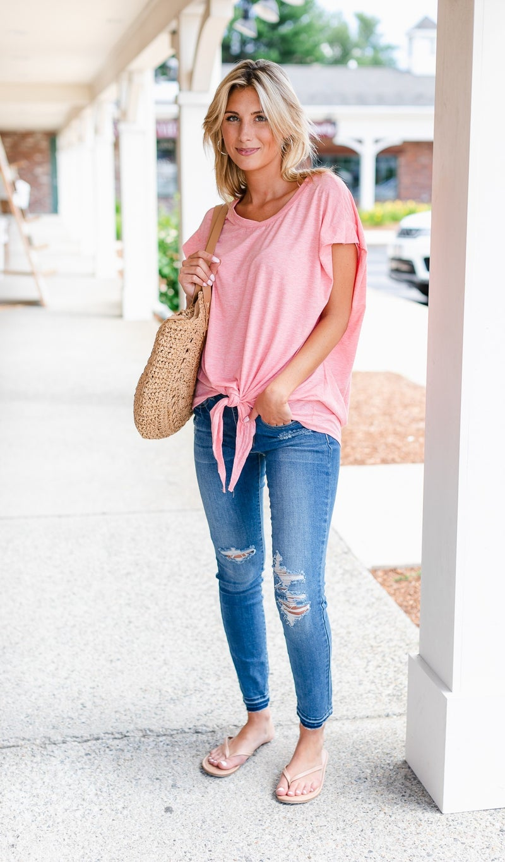 Callie Front Tie Tee, Pink