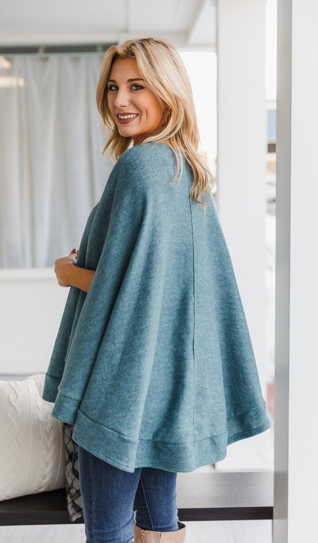 Manhattan Nights Sweater/Poncho, JB Teal